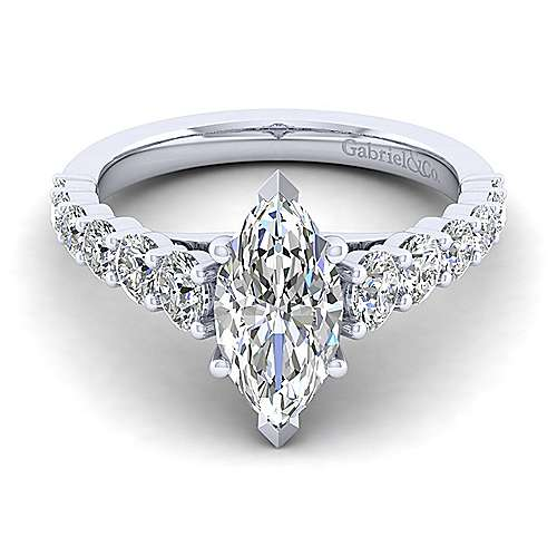Gabriel - Taylor 14k White Gold Marquise  Straight Engagement Ring