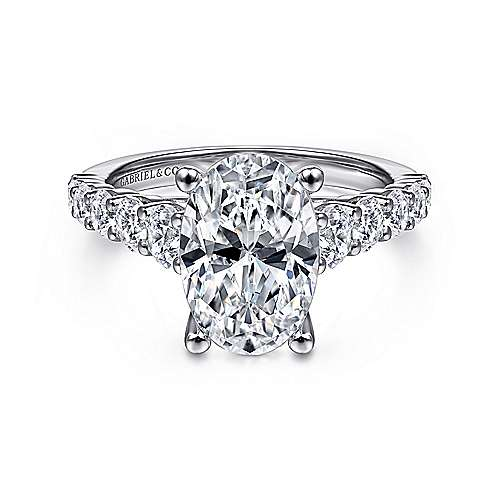 Gabriel - Taylor 14k White Gold Oval Straight Engagement Ring