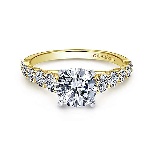 Gabriel - Taylor 14k Yellow And White Gold Round Straight Engagement Ring