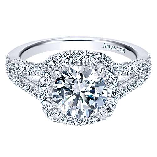 Gabriel - Temi 18k White Gold Round Halo Engagement Ring