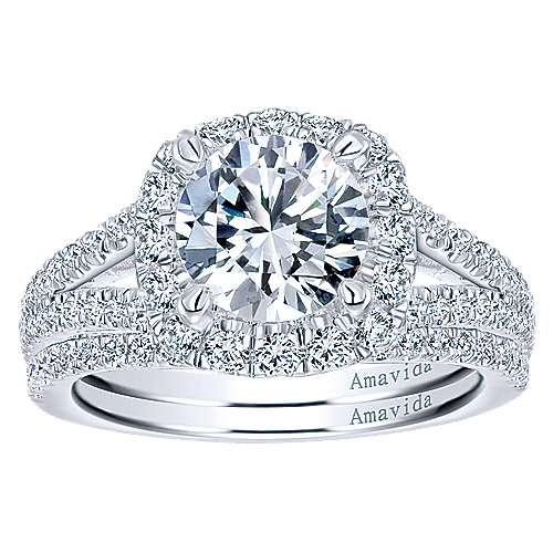 Temi 18k White Gold Round Halo Engagement Ring