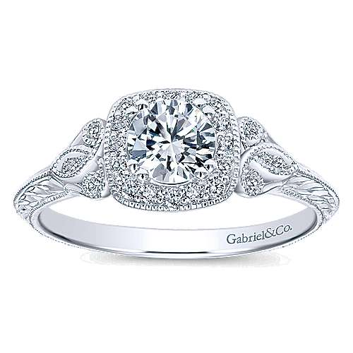 Temperance 14k White Gold Round Halo Engagement Ring angle 5