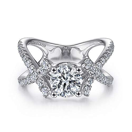 Gabriel - Tempest 14k White Gold Round Twisted Engagement Ring