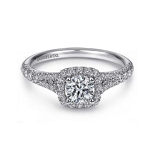 Gabriel - Terra 14k White Gold Round Halo Engagement Ring