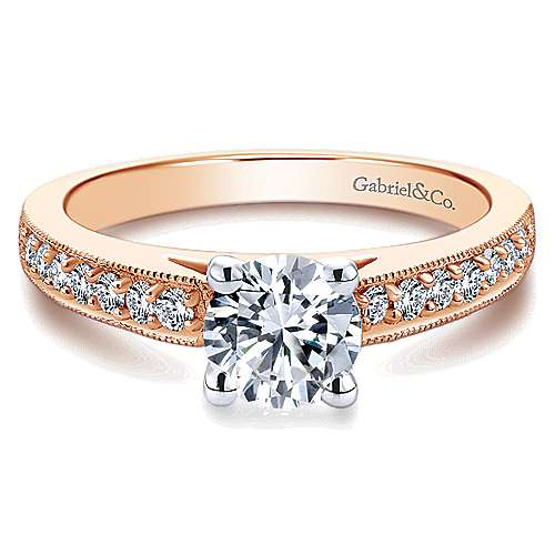 Gabriel - Tess 14k White And Rose Gold Round Straight Engagement Ring