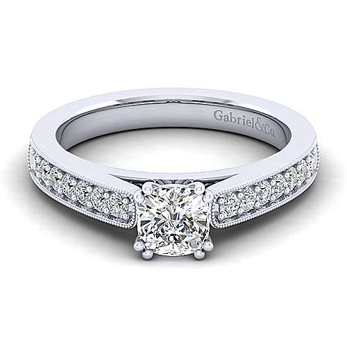 Gabriel - Tess 14k White Gold Cushion Cut Straight Engagement Ring