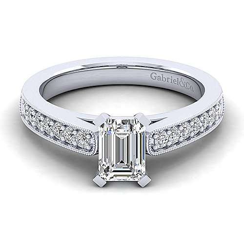 Gabriel - Tess 14k White Gold Emerald Cut Straight Engagement Ring
