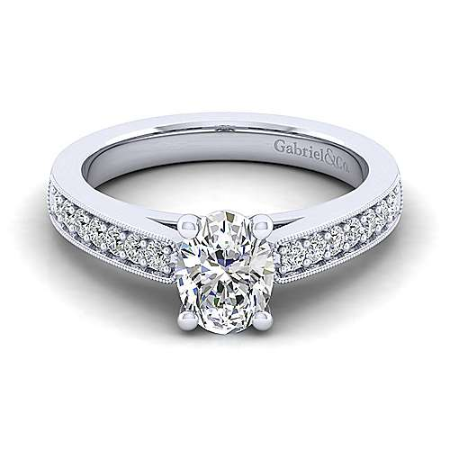 Gabriel - Tess 14k White Gold Oval Straight Engagement Ring