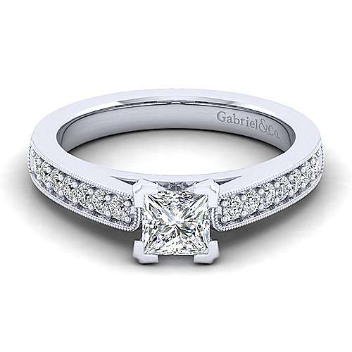 Gabriel - Tess 14k White Gold Princess Cut Straight Engagement Ring