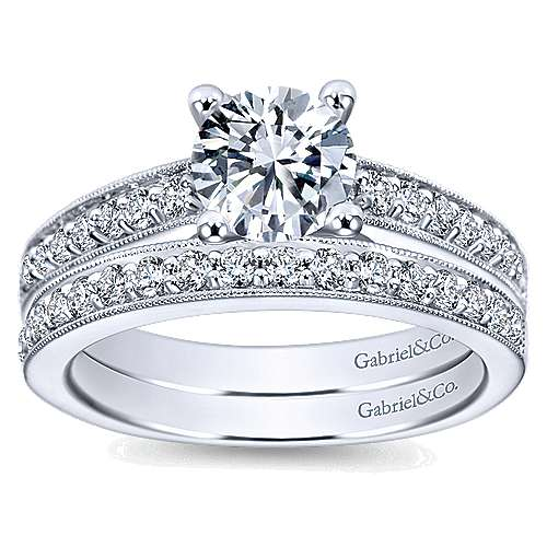 Tess 14k White Gold Round Straight Engagement Ring