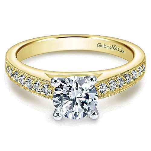 Gabriel - Tess 14k Yellow/white Gold Round Straight Engagement Ring