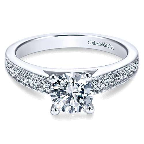 Gabriel - Tess Platinum Round Straight Engagement Ring