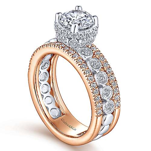 Tessa 18k White And Rose Gold Round Straight Engagement Ring angle 3