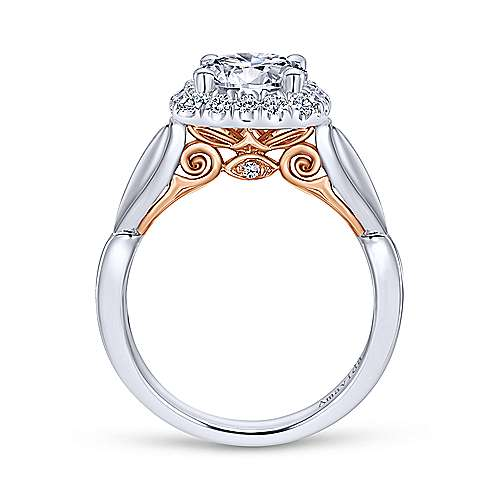 thailand 18k white and rose gold round halo engagement ring angle 2 - Rose Wedding Rings