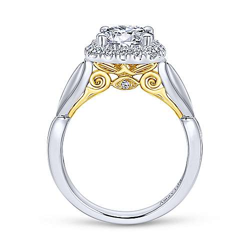 Thailand 18k Yellow And White Gold Round Halo Engagement Ring angle 2