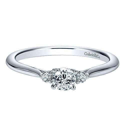 Gabriel - Thalia 14k White Gold Round 3 Stones Engagement Ring