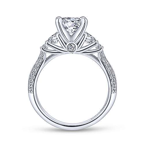 Thandie 14k White Gold Round 3 Stones Engagement Ring angle 2