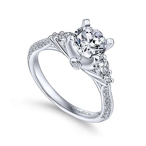Thandie 14k White Gold Round 3 Stones Engagement Ring angle 3