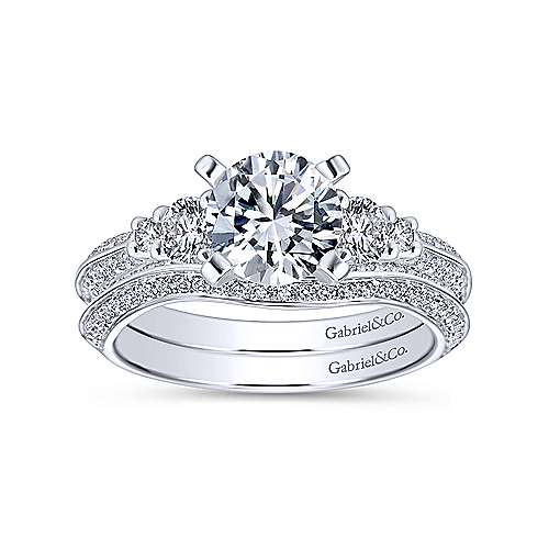 Thandie 14k White Gold Round 3 Stones Engagement Ring angle 4