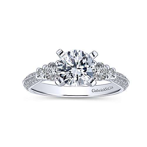 Thandie 14k White Gold Round 3 Stones Engagement Ring angle 5