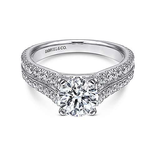 Gabriel - Thea 14k White Gold Round Straight Engagement Ring