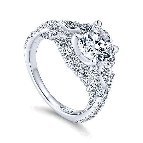 Thelma 18k White Gold Round Halo Engagement Ring angle 3