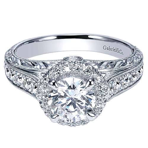 Gabriel - Theodora 14k White Gold Round Halo Engagement Ring