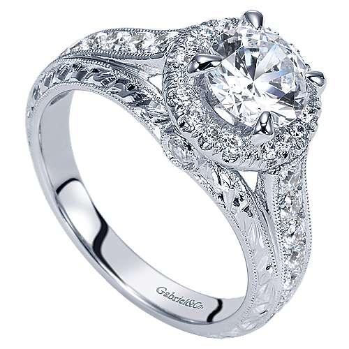 Theodora 14k White Gold Round Halo Engagement Ring angle 3