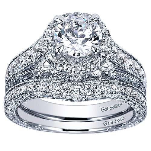 Theodora 14k White Gold Round Halo Engagement Ring angle 4