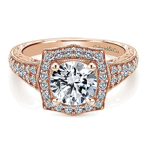 Theresa 14k Rose Gold Round Halo Engagement Ring angle 1