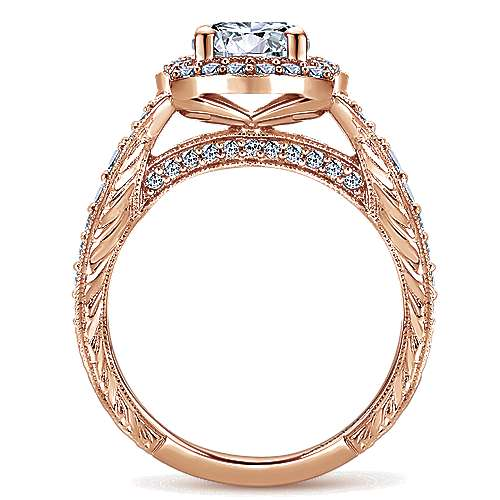Theresa 14k Rose Gold Round Halo Engagement Ring angle 2