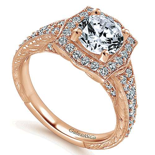 Theresa 14k Rose Gold Round Halo Engagement Ring angle 3