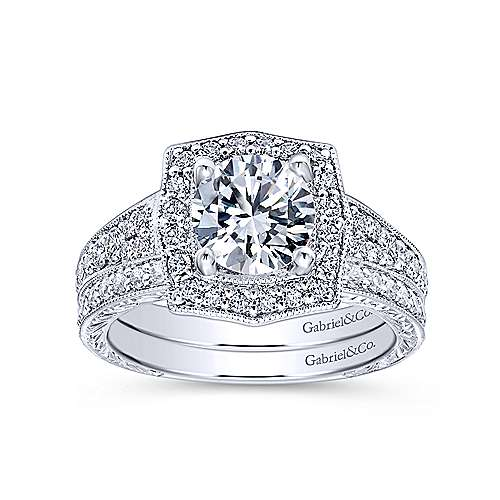 Theresa 14k White Gold Round Halo Engagement Ring angle 4