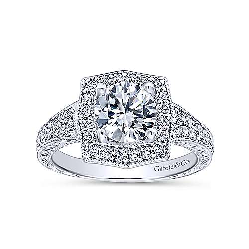 Theresa 14k White Gold Round Halo Engagement Ring angle 5