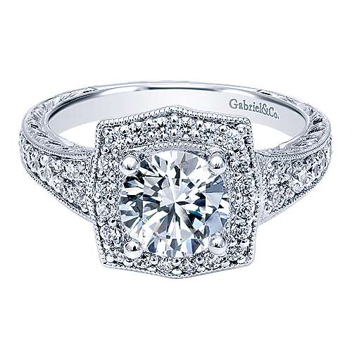 Theresa 14k White Gold Round Halo Engagement Ring angle 1