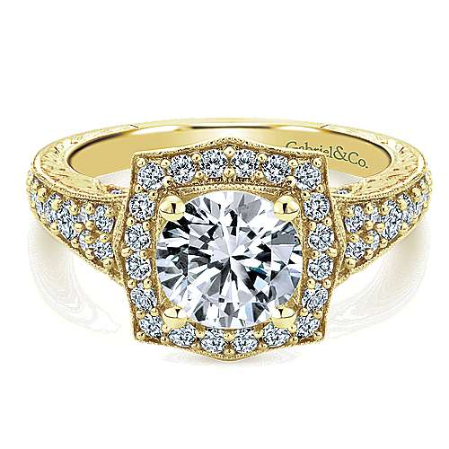 Gabriel - Theresa 14k Yellow Gold Round Halo Engagement Ring