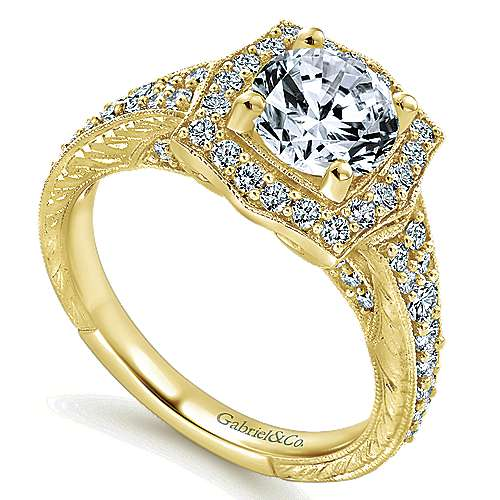 Theresa 14k Yellow Gold Round Halo Engagement Ring