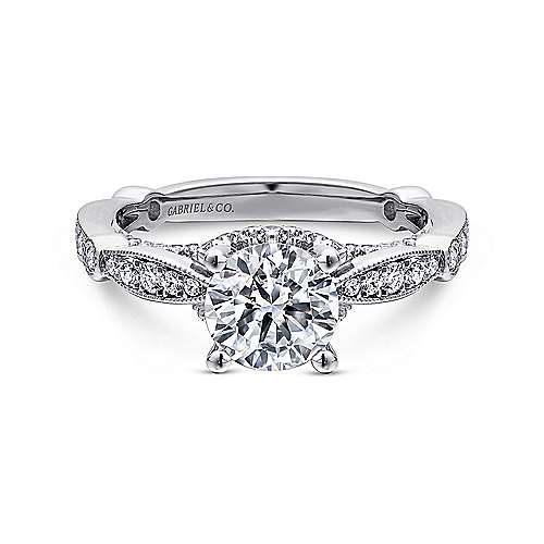 Gabriel - Thistle 14k White Gold Round Straight Engagement Ring