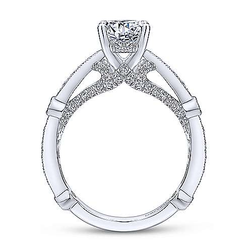 Thistle 14k White Gold Round Straight Engagement Ring angle 2