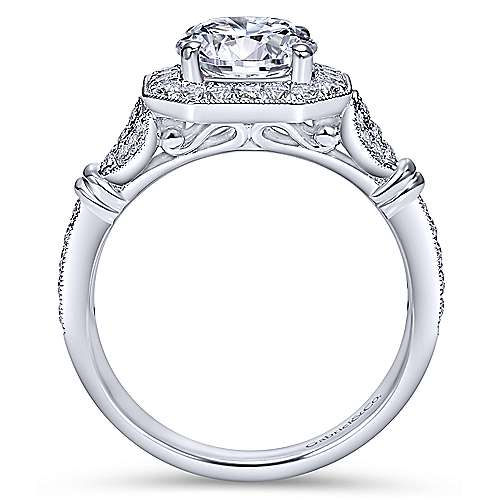 Thompson 14k White Gold Round Halo Engagement Ring angle 2