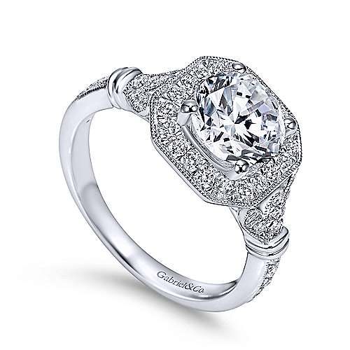 Thompson 14k White Gold Round Halo Engagement Ring angle 3