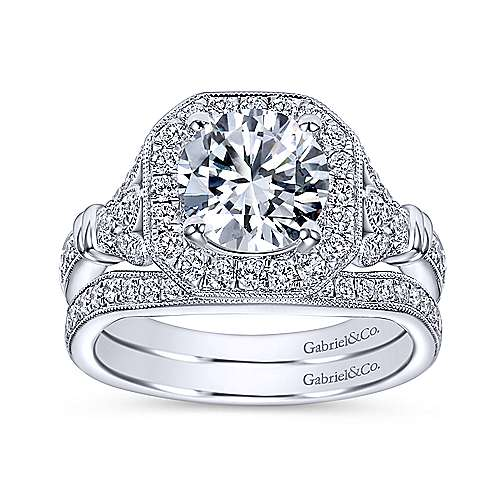 Thompson 14k White Gold Round Halo Engagement Ring angle 4