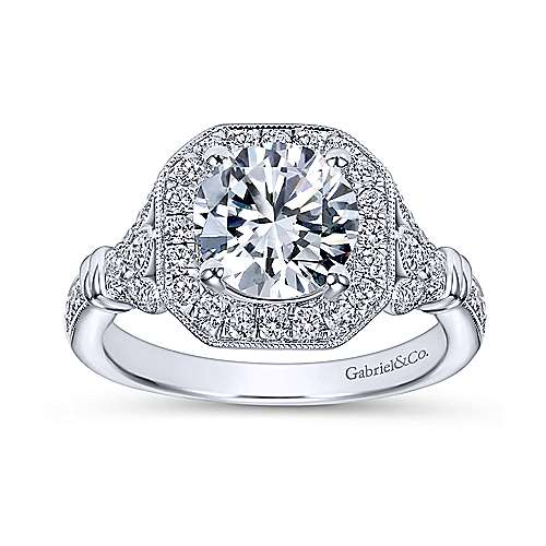 Thompson 14k White Gold Round Halo Engagement Ring angle 5