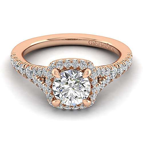 Gabriel - Thyme 14k Rose Gold Round Double Halo Engagement Ring