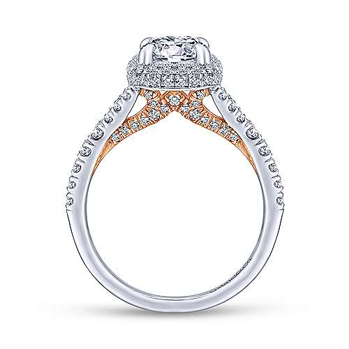 Thyme 14k White And Rose Gold Round Double Halo Engagement Ring angle 2