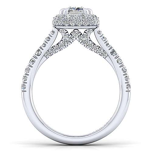Thyme 14k White Gold Cushion Cut Double Halo Engagement Ring angle 2