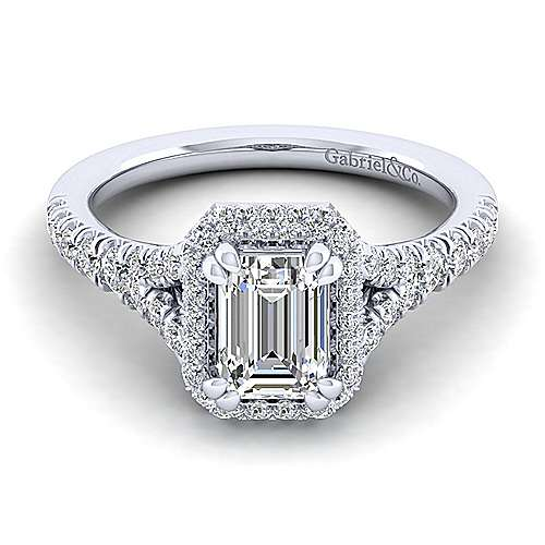 Gabriel - Thyme 14k White Gold Emerald Cut Double Halo Engagement Ring