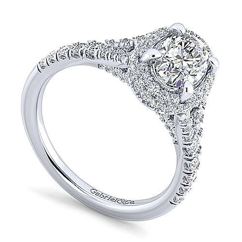 Thyme 14k White Gold Oval Double Halo Engagement Ring angle 3