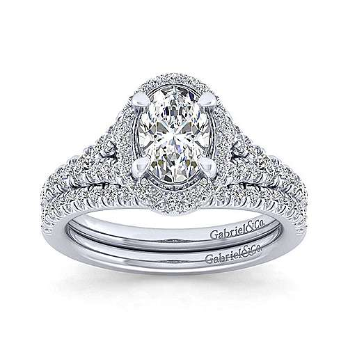 Thyme 14k White Gold Oval Double Halo Engagement Ring angle 4