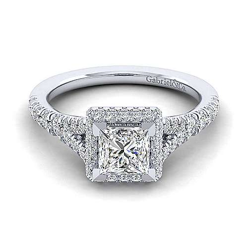 Gabriel - Thyme 14k White Gold Princess Cut Double Halo Engagement Ring